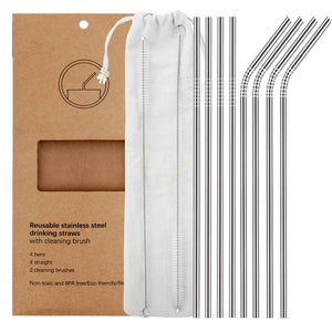 YIHONG Set of 8 Stainless Steel Straws,Ultra Long 10.5'' Drinking Metal Straws For 20 30oz Stainless Tumblers Rumblers Cold Beverage (4 Straight + 4 Bent + 2 Brushes)