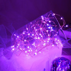 set of 6 Fairy String Lights Powered by Coin Battery(included), Pink Purple