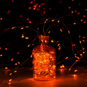 YIHONG 2 Set Orange Fairy String Lights Battery Operated,16.4ft 50Leds Twinkle Firefly Lights with Remote Control Fairy Lights for Halloween Christmas Bedroom Patio Wedding Party Indoor Outdoor Decor
