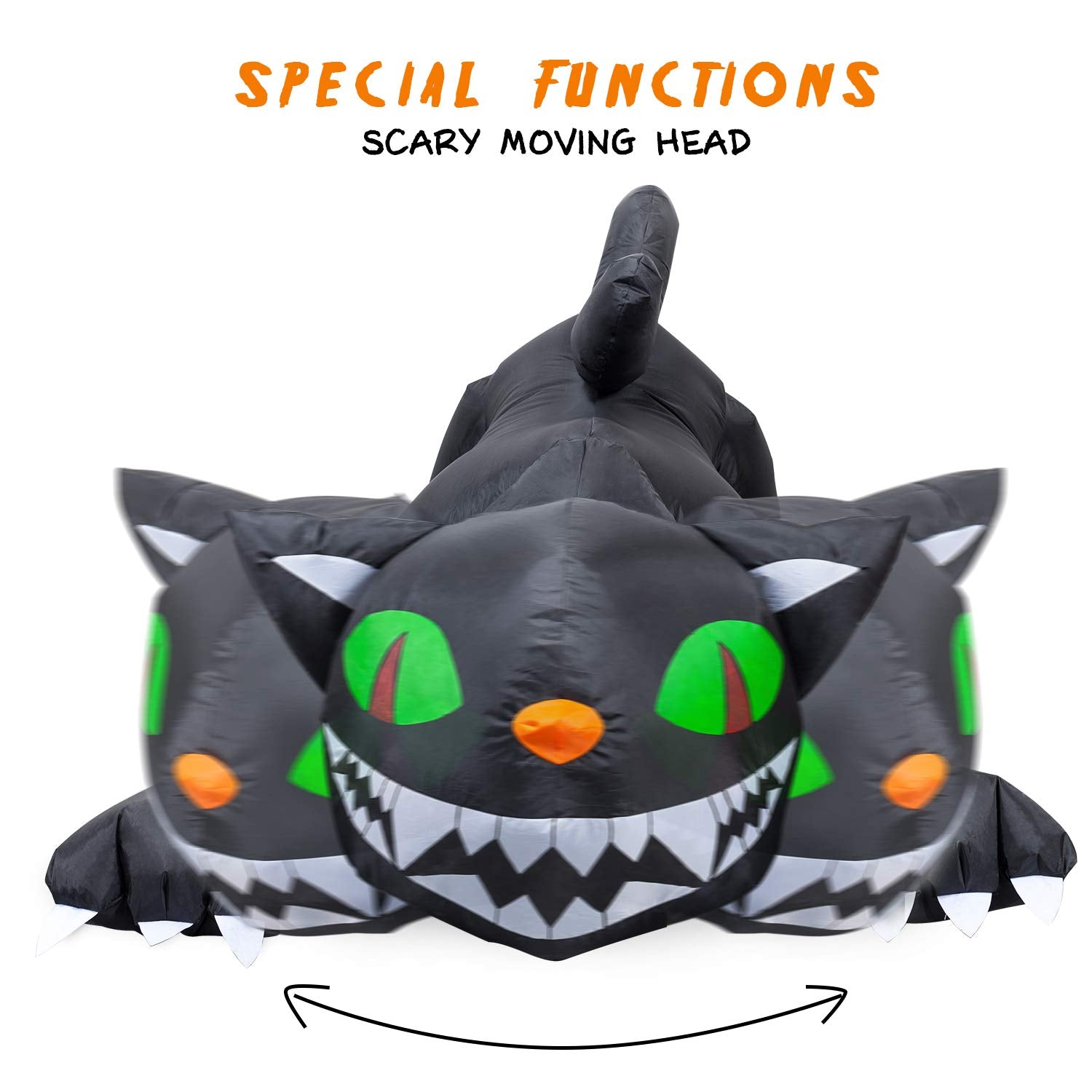 YIHONG 6 Ft Long Halloween Inflatable Animated Black Cat with Moving Head Decorations Blow up Party Decor for Indoor Outdoor Yard with LED Lights