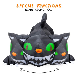 YIHONG 6 Ft Long Halloween Inflatable Animated Black Cat with Moving Head Decorations - Blow up Party Decor for Indoor Outdoor Yard with LED Lights