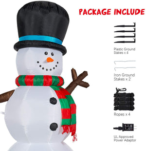 YIHONG 7 Ft Christmas Inflatables Snowman with Rotating LED Lights Decorations - Blow up Party Decor for Indoor Outdoor Yard with LED Lights
