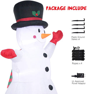 YIHONG 8 Ft Christmas Inflatables Greeting Snowman with Scarf and Top Hat Decorations - Blow up Party Decor for Indoor Outdoor Yard with LED Lights