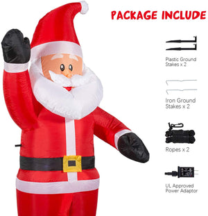 YIHONG 6 Ft Christmas Inflatables Greeting Santa Claus Decorations - Blow up Party Decor for Indoor Outdoor Yard with LED Lights