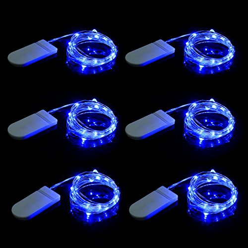 premium selection 9fbfd e7c0d Set of 6 Fairy String Lights Powered by Coin Battery(included), Blue