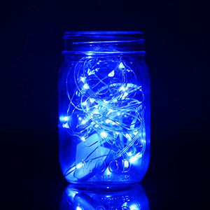 Set of 6 Fairy String Lights Powered by Coin Battery(included), Blue