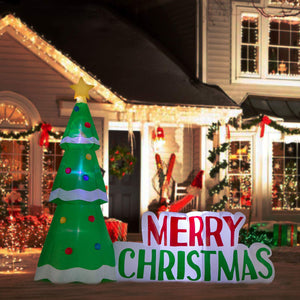 YIHONG 8 Ft Christmas Inflatables Tree with Merry Christmas Decorations - Blow up Party Decor for Indoor Outdoor Yard with LED Lights