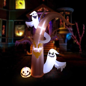 YIHONG 10 Ft Halloween Inflatables Dead Tree with Ghosts,Pumpkins Decorations - Blow up Party Decor for Indoor Outdoor Yard with LED Lights