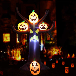YIHONG 10 Ft Halloween Inflatables Dead Tree with Pumpkins Decorations - Blow up Party Decor for Indoor Outdoor Yard with LED Lights