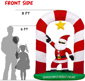 SEASONJOY 8Ft Christmas Inflatables Archway with Santa Decorations, Outdoor Christmas Inflatable with Built-in Lights, Christmas Blow up Decor for Yard Lawn Garden