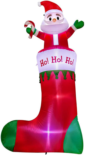 SEASONJOY 10Ft Christmas Inflatable Santa on Stockings, Outdoor Christmas Inflatable Decorations with Built-in Lights, Christmas Blow up Decor for Yard Lawn Garden
