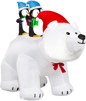 SEASONJOY 7Ft Long Christmas Inflatables Polar Bear with Penguins, Christmas Inflatables Outdoor Decorations with Built-in Lights, Christmas Blow up Decor for Yard Lawn Garden
