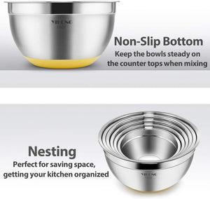 6 Pcs Stainless Steel Mixing Bowls with Lids,YIHONG Metal Nesting Mixing Bowls Set for Mixing