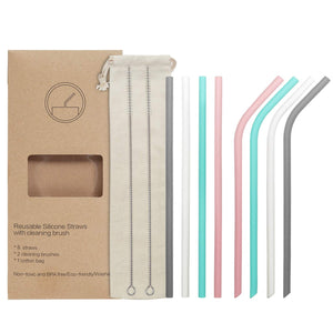 8 Reusable Silicone Drinking Straws Set, YIHONG Regular Size 9.8 Inch Silicone Straws For 20oz and 30oz Tumblers for Coffee Lemonade Cold Beverage(4 Straight|4 Bent|2 Brushes|1 Pouch)