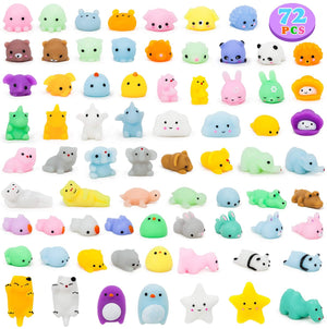 YIHONG 72 Pcs Kawaii Squishies,Mochi Squishy Toys for Kids Party Favors, Class Prize, Birthday Gift, Goodie Bag