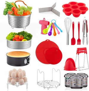 YIHONG 22 Pcs Pressure Cooker Accessories Set Compatible with Instant Pot 6 8 Qt - 2 Steamer Baskets,7 Inch Springform Pan,Stackable Egg Rack,Silicone Egg Bites Mold, with Free Ebook Recipe