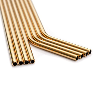 YIHONG Set of 8 Stainless Steel Metal Straws Ultra Long 10.5 Inch Reusable Straws For Tumblers Rumblers Cold Beverage Gold (4 Straight|4 Bent|2 Brushes)