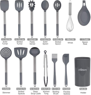 16 Pcs Kitchen Cooking Utensils Set, Chefstory Silicone Cooking Utensil with Holder