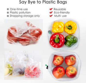 "Ecowaare Reusable Mesh Produce Bags for Grocery, 25 Pack Washable Transparent Zero Waste Mesh Bags for Storage Fruit,Veggie, Medium Sizes 12""x14"""