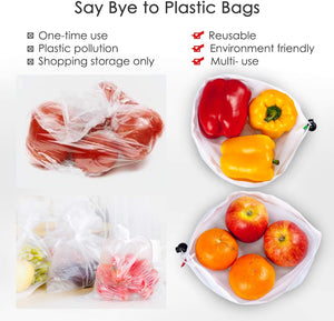 Ecowaare 15 Pack Reusable Produce Mesh Bags for Grocery Shopping,Fruits,Vegetable, 3 Sizes Washable Produce Bags with Colorful Drawstring Tare Weight Tags, 5 Small 5 Medium & 5 Large,White