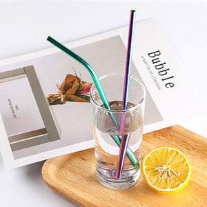 YIHONG Set of 8 Stainless Steel Metal Straws Ultra Long 10.5 Inch Colorful Reusable Drinking Straws For Tumblers Rumblers Cold Beverage (4 Straight|4 Bent|2 Brushes|1 Pouch)
