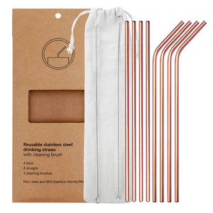 YIHONG Set of 8 Stainless Steel Metal Straws Ultra Long 10.5 Inch Reusable Straws For Tumblers Rumblers Cold Beverage Rose Gold (4 Straight|4 Bent|2 Brushes)
