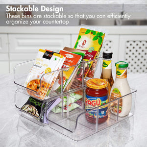 YIHONG Food Packet Organizer Bins for Pantry Organization, 4 Pack Plastic Clear Storage Bins for Storing Seasoning Packets, Spices, Sauce Packets,Snacks, with 2 Removable Dividers