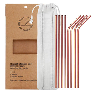 YIHONG Set of 8 Stainless Steel Metal Straws 8.5'' Reusable Drinking Straws For 20oz Tumblers Yeti 6mm Diameter Rose Gold (4 Straight + 4 Bent + 2 Brushes)