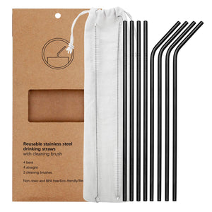 YIHONG Set of 8 Stainless Steel Metal Straws Ultra Long 10.5 Inch Reusable Straws For Tumblers Rumblers Cold Beverage Black (4 Straight|4 Bent|2 Brushes)