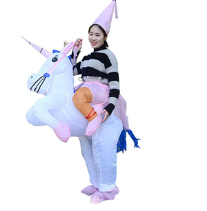 YIHONG Halloween Inflatable Unicorn Rider Costume - Blow Up Costumes for Adults White