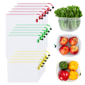 Ecowaare Set of 15 Reusable Mesh Produce Bags,3 Sizes Washable and See-Through Grogery Bags,5 Small 5 Medium & 5 Large