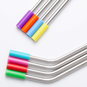 YIHONG Set of 8 Stainless Steel Metal Straws Reusable Drinking Straws 10.5 Inch& 8.5 Inch/ 6mm Wide/2 Cleaning Brushes Included