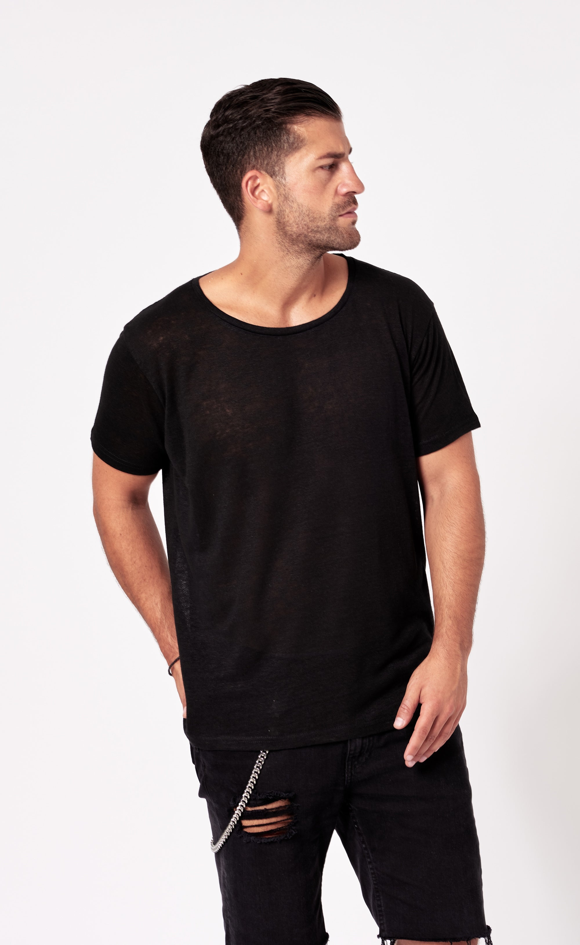 LINEN T-SHIRT - BLACK - Forage-Clothing