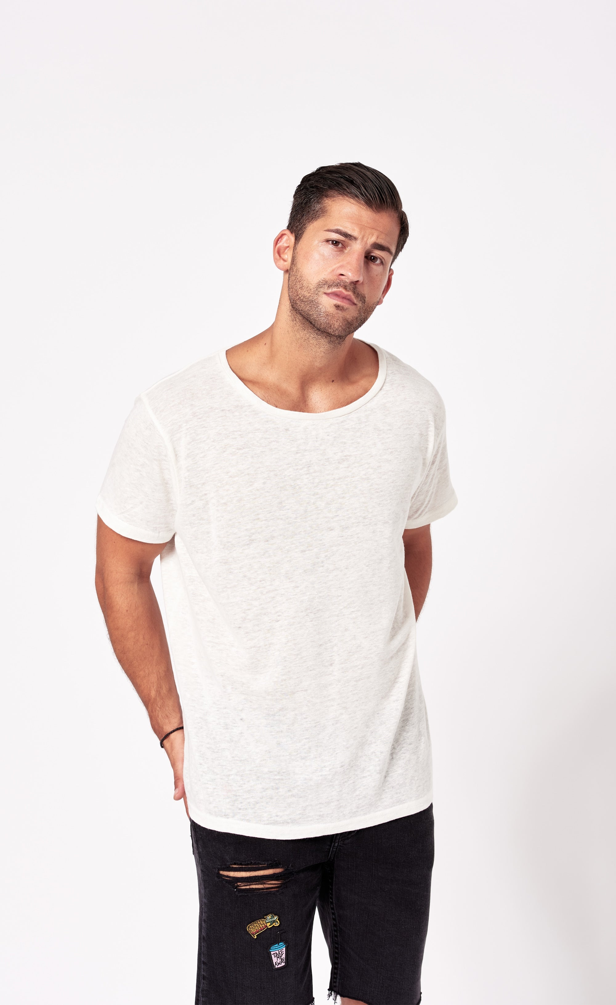 LINEN T-SHIRT - OFF-WHITE - Forage-Clothing