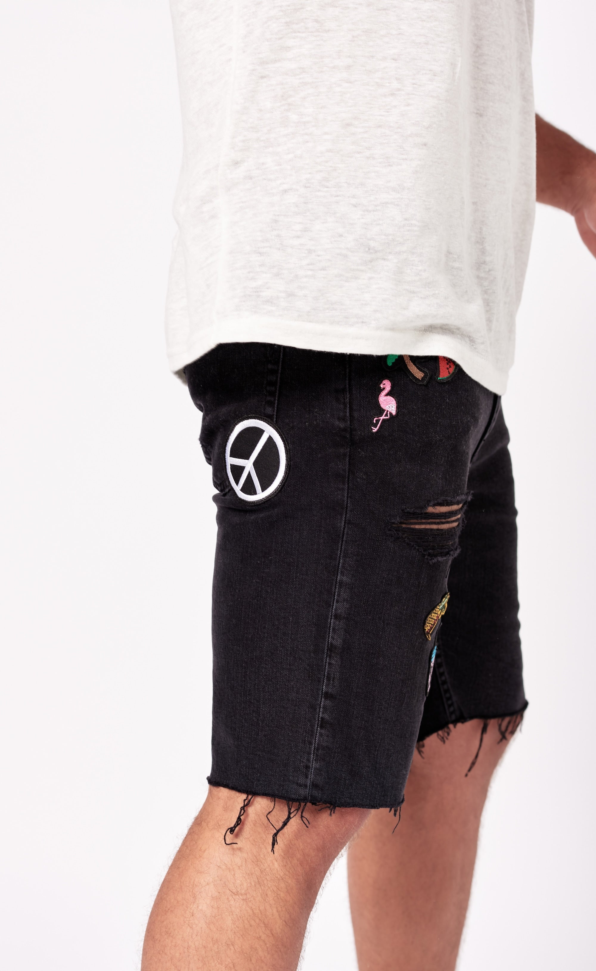 DENIM SHORTS PATCHES - BLACK - Forage-Clothing