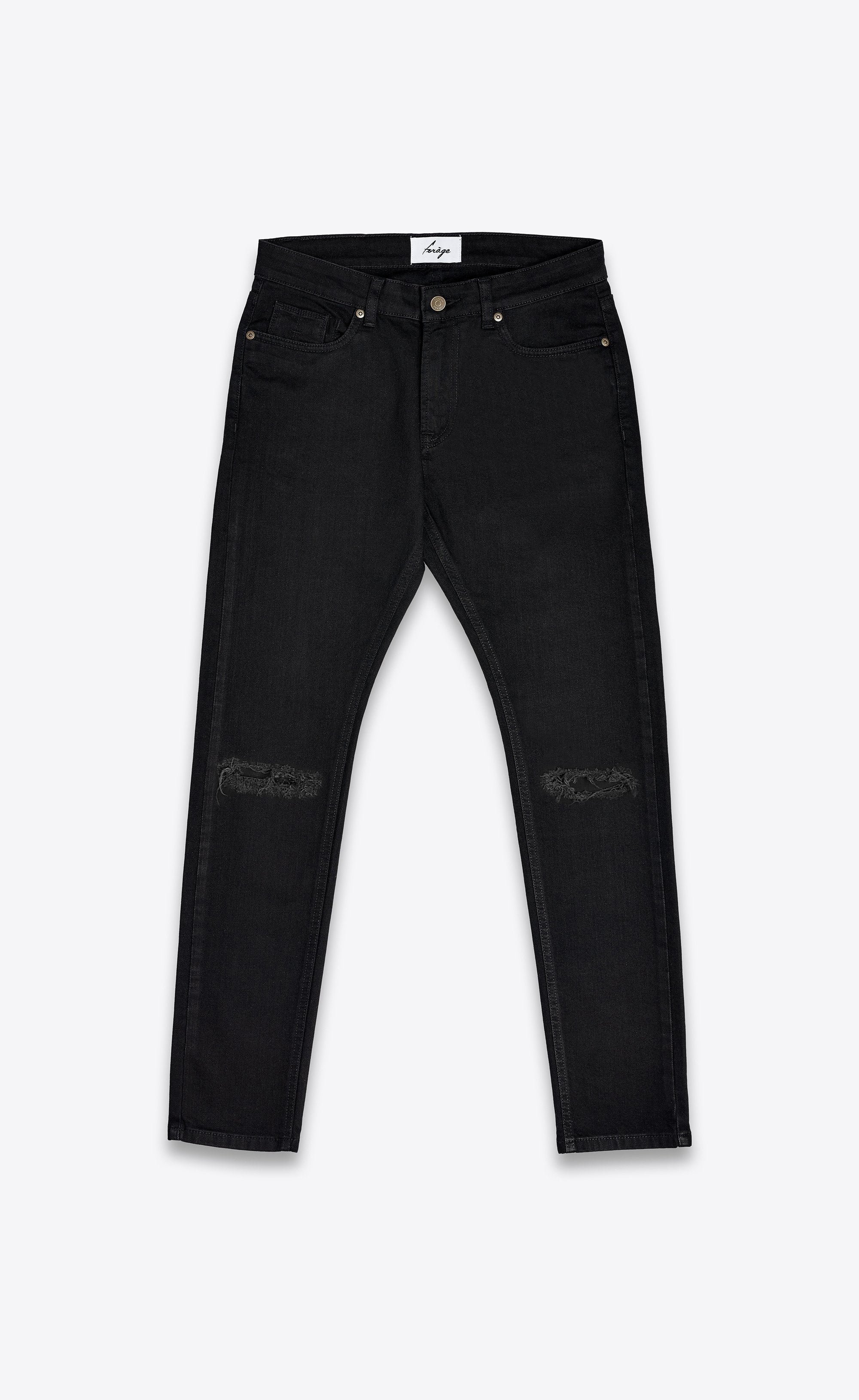 DESTROYED SKINNY JEANS - BLACK - Forage-Clothing