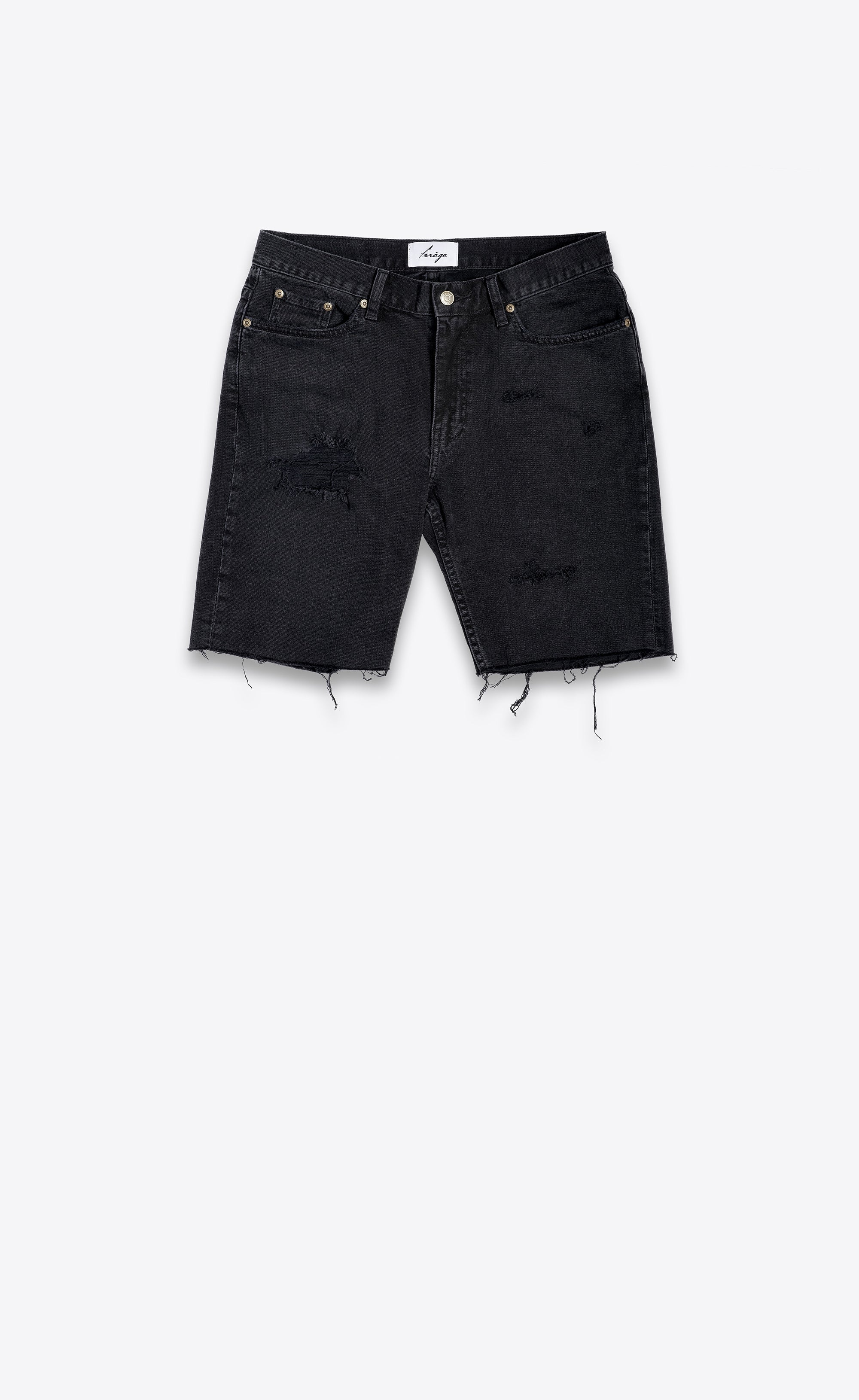DESTROYED DENIM SHORTS - BLACK - Forage-Clothing