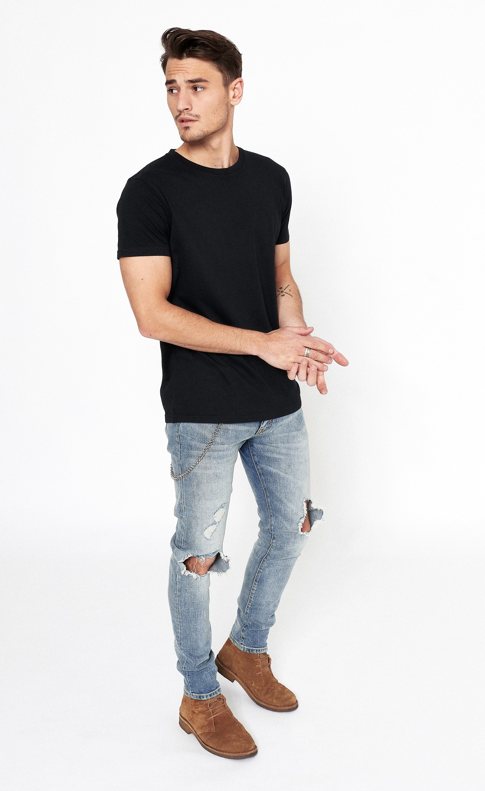 DESTROYED SKINNY JEANS - BLUE - Forage-Clothing