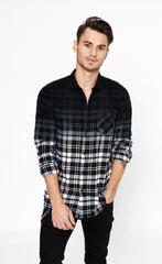DIP DYE FLANNEL SHIRT - BLACK / WHITE - Forage-Clothing