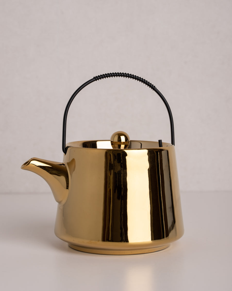 HK Living Bold&basic ceramic tea pot gold