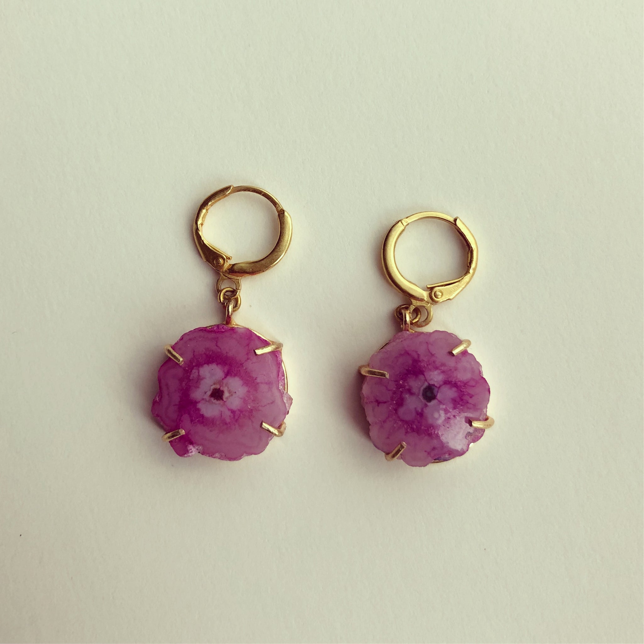 Solar Quartz Pink Earhoop