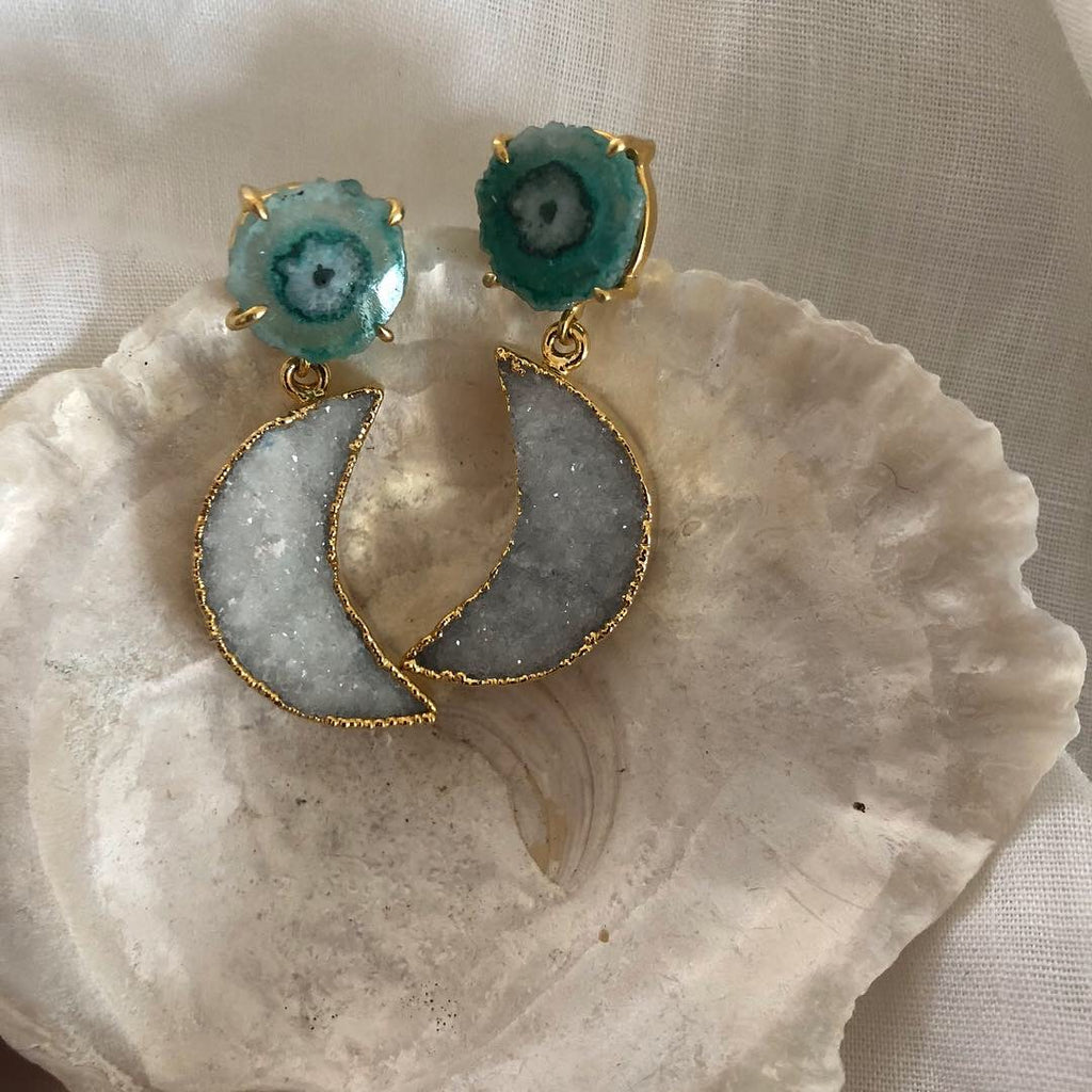 La Luna Green Earrings