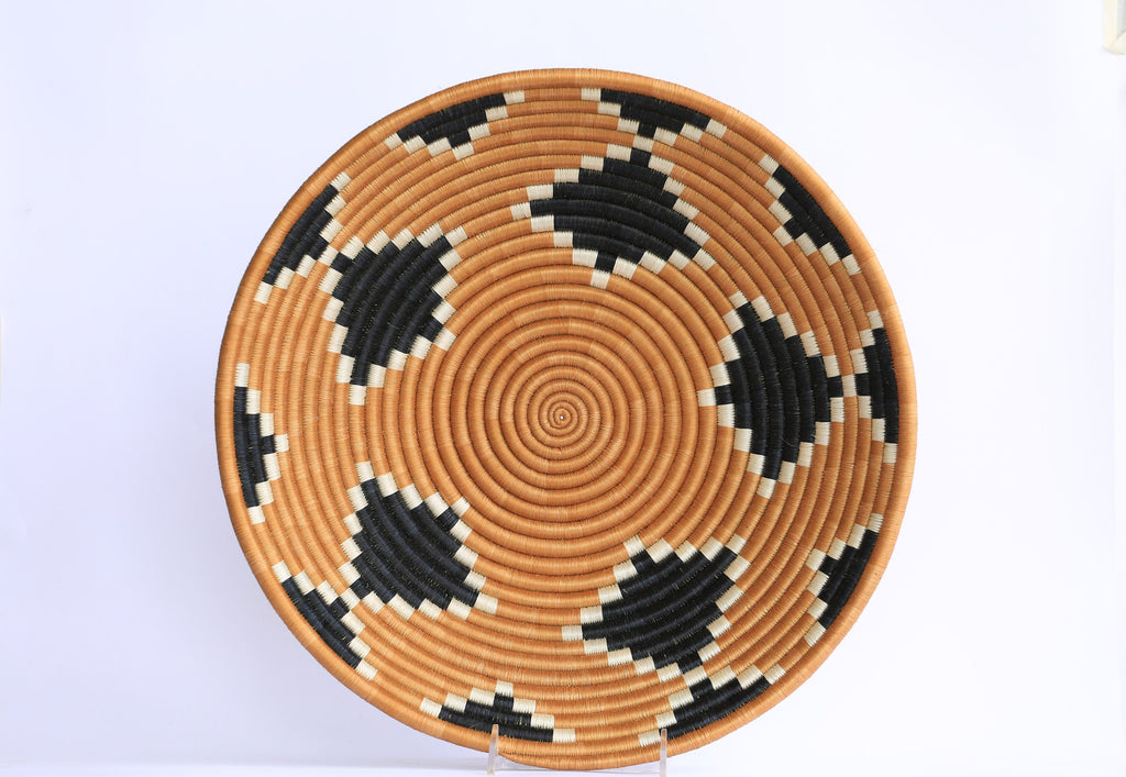 Nziza African Wall Basket, Rwanda baskets, African Woven basket. Black, White and Tan - African Baskets , African Basket , Rwanda Baskets , Wall baskets Woven Basket