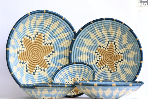 Mapambo African Wall Basket, Rwanda baskets, African Woven basket,  Sky blue, blue and brown