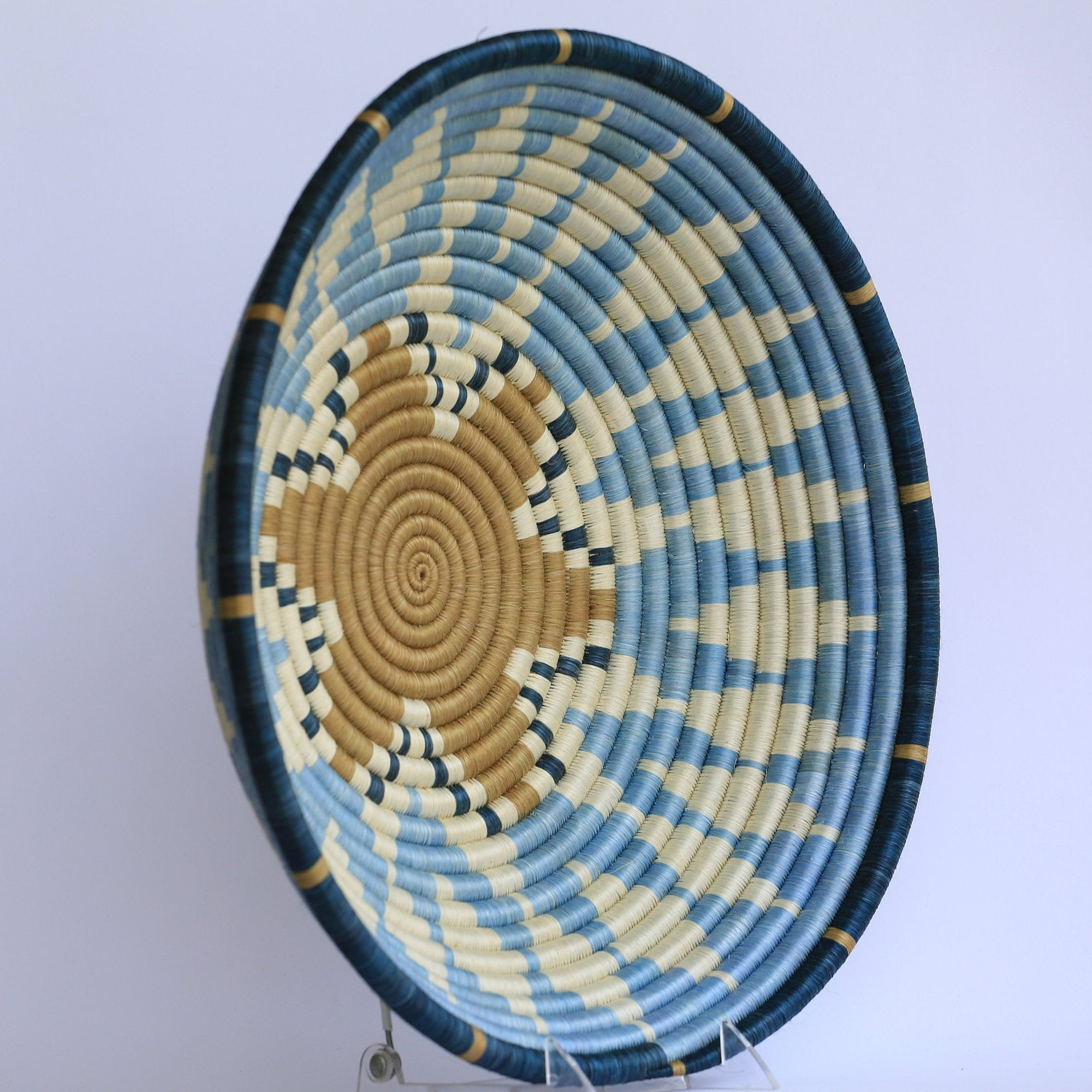 Mapambo African Wall Basket, Rwanda baskets, African Woven basket,  Sky blue, blue and brown - African Baskets , African Basket , Rwanda Baskets , Wall baskets Woven Basket