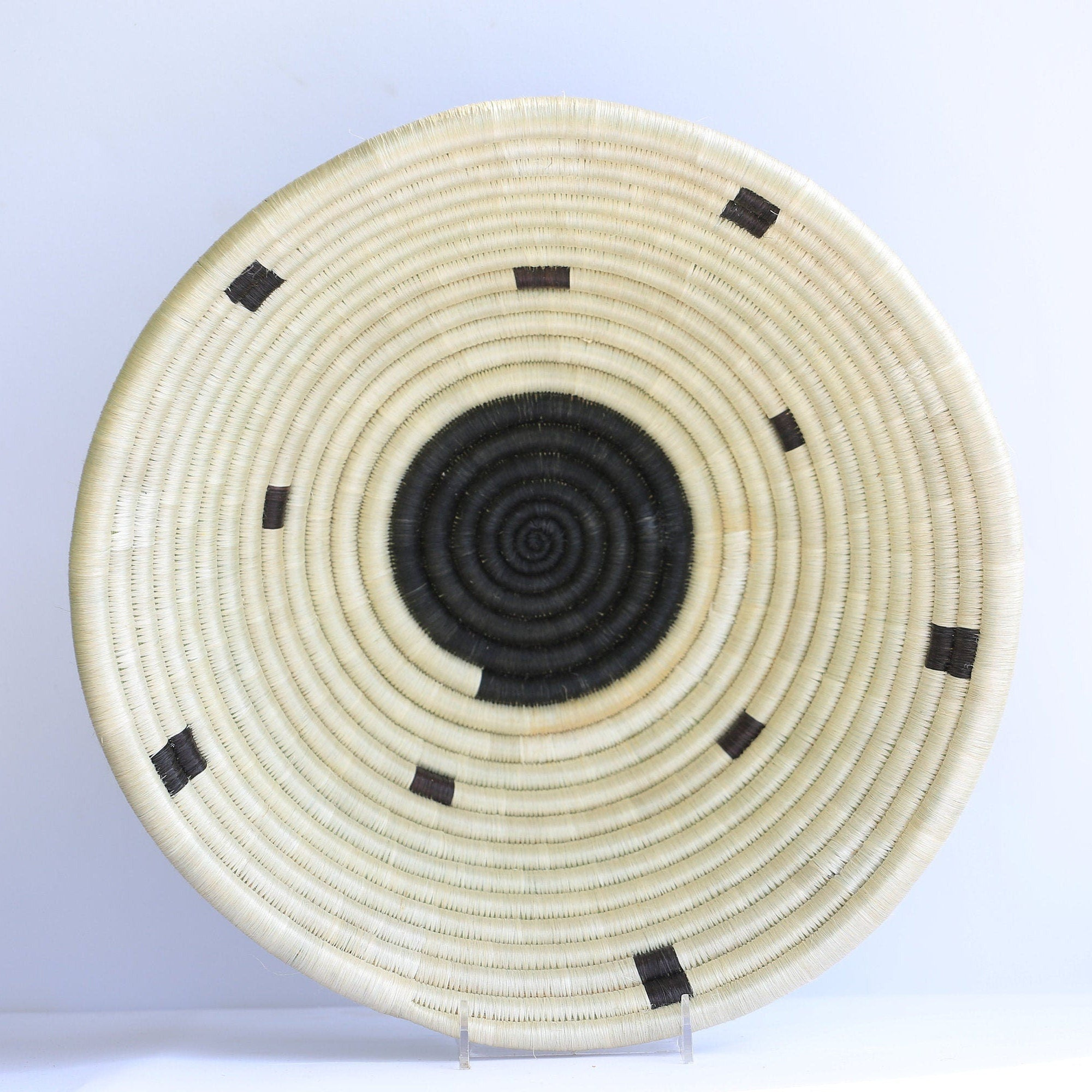 Teta African Wall Basket, Rwanda baskets, African Woven basket,  Brown, Black and White - African Baskets , African Basket , Rwanda Baskets , Wall baskets Woven Basket
