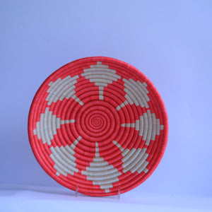 Renze African Wall Basket, Rwanda baskets, African Woven basket. White and dark red - African Baskets , African Basket , Rwanda Baskets , Wall baskets Woven Basket