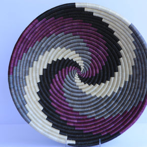 Keza African Wall Basket, Rwanda baskets, African Woven basket,  Gray, Black and Purple - African Baskets , African Basket , Rwanda Baskets , Wall baskets Woven Basket