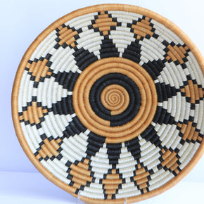 Igongo African Wall Basket, Rwanda baskets, African Woven basket,  Brown, Black and White