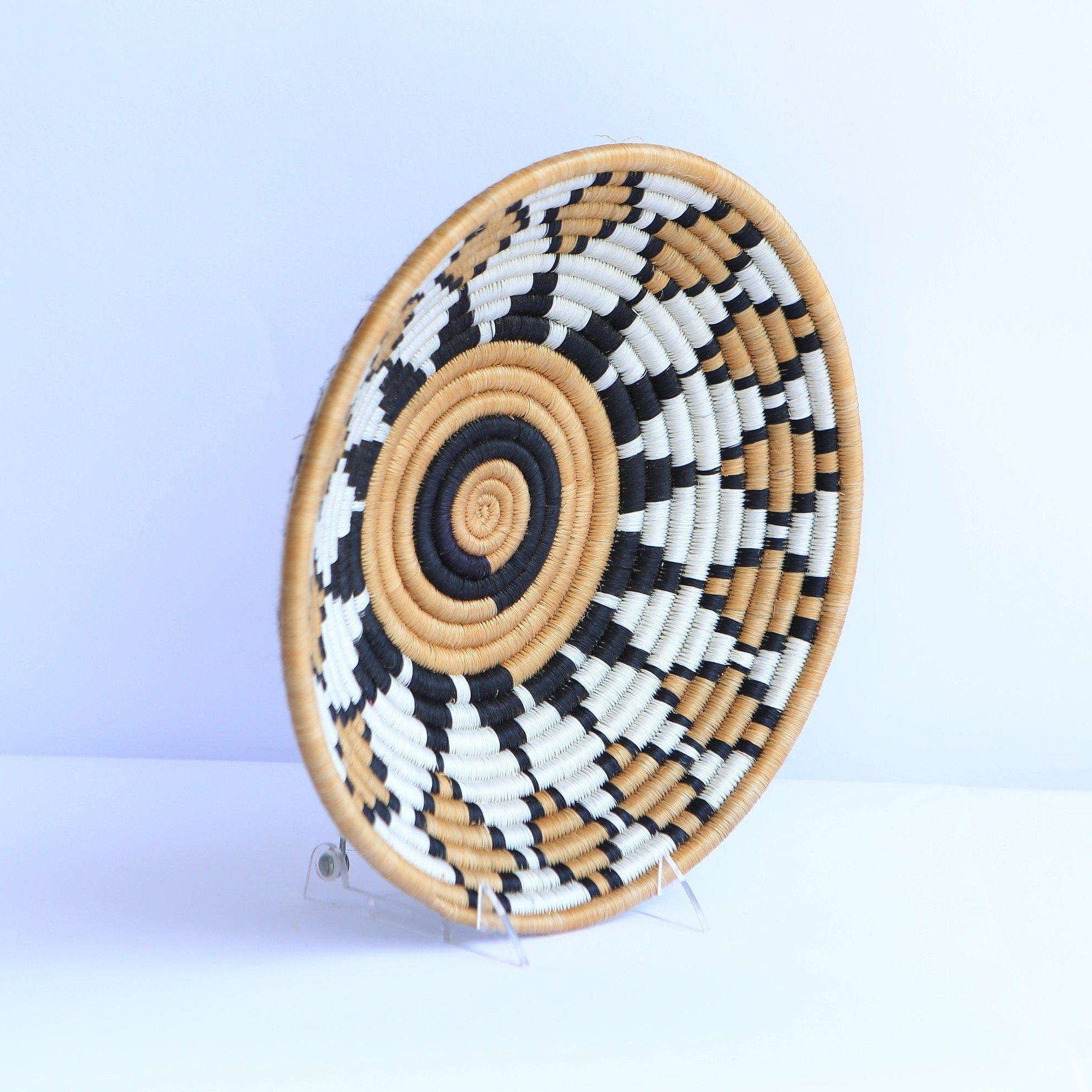 Igongo African Wall Basket, Rwanda baskets, African Woven basket,  Brown, Black and White - African Baskets , African Basket , Rwanda Baskets , Wall baskets Woven Basket